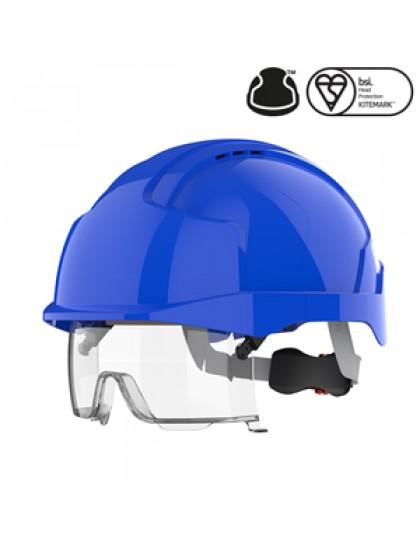 Šalmas JSP EVO®VISTAlens® su integruotais apsauginiais akiniais, su ventiliacinėmis angomis