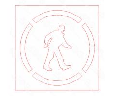 Trafaretas-Pėstysis, 400x400 PVC