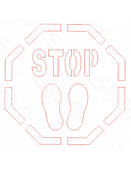 Trafaretas-STOP, 400x400 PVC